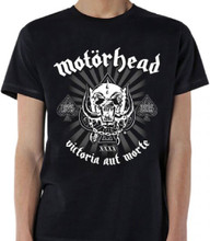 Motorhead Victoria Aut Morte 1975-2015 40th Anniversary War Pig Snaggletooth Logo Men's Black T-shirt