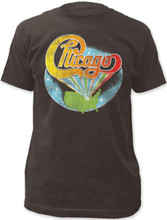 Chicago Rock Band Logo with United States Background Men's Black Vintage T-shirt