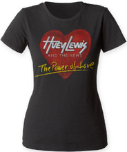 Huey Lewis and the News The Power of Love Song Single Album Cover Artwork Women's Black Vintage T-shirt