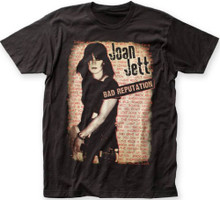 Joan Jett Bad Reputation Solo Debut Album Cover Artwork and Song Titles Men's Black T-shirt
