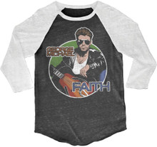 George Michael Faith Drawing Black and White Vintage Raglan Baseball Jersey T-shirt