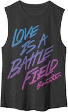 Pat Benatar Love is a Battlefield Song Title Women's Black Sleeveless Muscle T-shirt