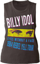 Billy Idol Rebel Yell Tour 1984 Eyes Without a Face Song Title Women's Black Vintage Sleeveless T-shirt - Front