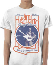 Jimi Hendrix Live at the Chicago Coliseum Friday January 12, 1968 Men's White Vintage Concert T-shirt