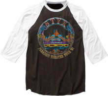 Styx Paradise Theater Tour 1981 Black with White Sleeves Vintage Concert Baseball Jersey T-shirt