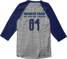 Huey Lewis and the News Sports Tour 1984 Vintage Gray with Blue Sleeves Baseball Jersey T-shirt - Back