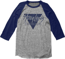 Huey Lewis and the News Sports Tour 1984 Vintage Gray with Blue Sleeves Baseball Jersey T-shirt - Front