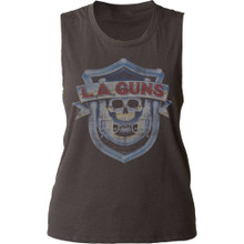 LA Guns Logo and Debut Album Cover Artwork Women's Black Vintage Sleeveless T-shirt