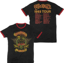 Aerosmith Aero Force One 1993 Tour with Cities Men's Black with Red Ringer Vintage Concert T-shirt