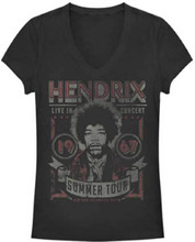 Jimi Hendrix Live in Concert 1967 Summer Tour New York, Los Angeles, Austin Women's Black Vintage Concert V-Neck T-shirt