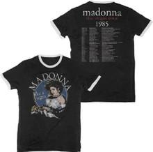 Madonna The Virgin Tour 1985 Men's Black Vintage Ringer Concert T-shirt