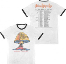 The Allman Brothers Band Summer Tour 1981 Men's White with Black Ringer Vintage Concert T-shirt