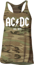 AC/DC Established 1973 Women's Green Camouflage Tank Top T-shirt