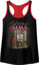 Styx The Grand Illusion Album Cover Artwork Women's Black and Red Tank Top T-shirt