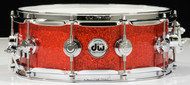 DW Collector's Series 5x14 Maple VLT Snare Drum - Super Tangerine Glass