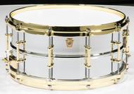 Ludwig Chrome over Brass 6.5x14 Snare Drum w/Brass Trim
