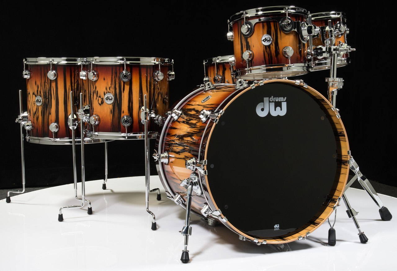 DW Collector's 6pc Transparent Rich Red Burst on Vertical Ivory Ebony