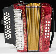 Hohner Corona II Accordion w/Gig Bag and Straps - Red (F Bb Eb)
