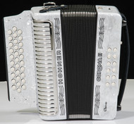 Hohner Corona II Classic Accordion w/Gig Bag and Straps -White (F Bb Eb)