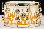 DW Collector's Series 8x14 Gold Hot Rod Flames Snare Drum Maple VLT