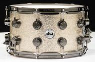 DW Collector's Snare 8x14 - Nickel Sparkle Glass - Black Nickel Hardware