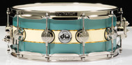 "DW Collector's 5.5"" x 14""Snare - Teal Lacquer with Creme Oyster Abalone Rally Stripe- Nickel Hardware"