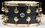 "DW Collector's 8"" x 14"" Snare Drum - Gun Metal Sparkle Glass - Gold Hardware"