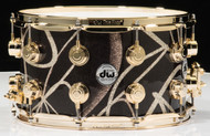 "DW Collector's 8"" x 14"" Snare Drum - Smoke Glass Contrail - Gold Hardware"
