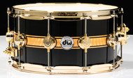 DW Collector's 7x14 Snare - Piano Black with Gold Foil Rally Stripe