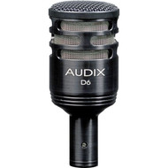 With a wide frequency response of 30 Hz - 15 kHz and the ability to handle sound pressure levels in excess of 144 dB, the Audix D6 is an excellent choice for miking instruments requiring extended low frequency reproduction such as kick drum, large toms, and bass cabinets.