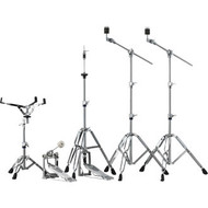 The HW-680W Hardware Pack from Yamaha offers heavyweight double-braced stability in lightweight construction. The two double-braced cymbal stands offer slip-resistant feet and offset tilters, while the single-chain drive kick and hi-hat pedals offer brand.  - Slip-resistant feet - Belt and single-chain drive pedals - Branded footboards