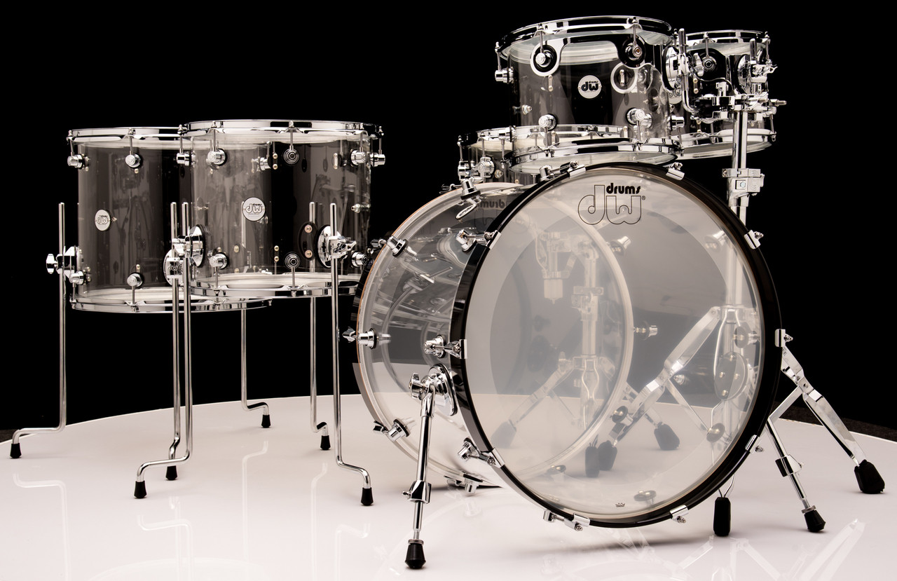 DW Acrylic Design Series Drum 6pc Set - Clear 10/12/14/16/22/14SD