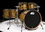 DW Collector's Series Maple Mahogany Drums 6pc Gold Abalone - Front Angle