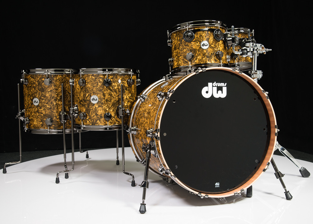 dw collector 39 s maple mahogany drums 5pc shell pack gold abalone. Black Bedroom Furniture Sets. Home Design Ideas