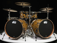 DW Collector's Series Maple Mahogany Drums 6pc - Gold Abalone 10/12/14/16/22/22 - Front Angle