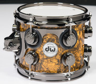 DW Collector's Maple Mahogany 7x8 Tom Gold Abalone with Black Nickel