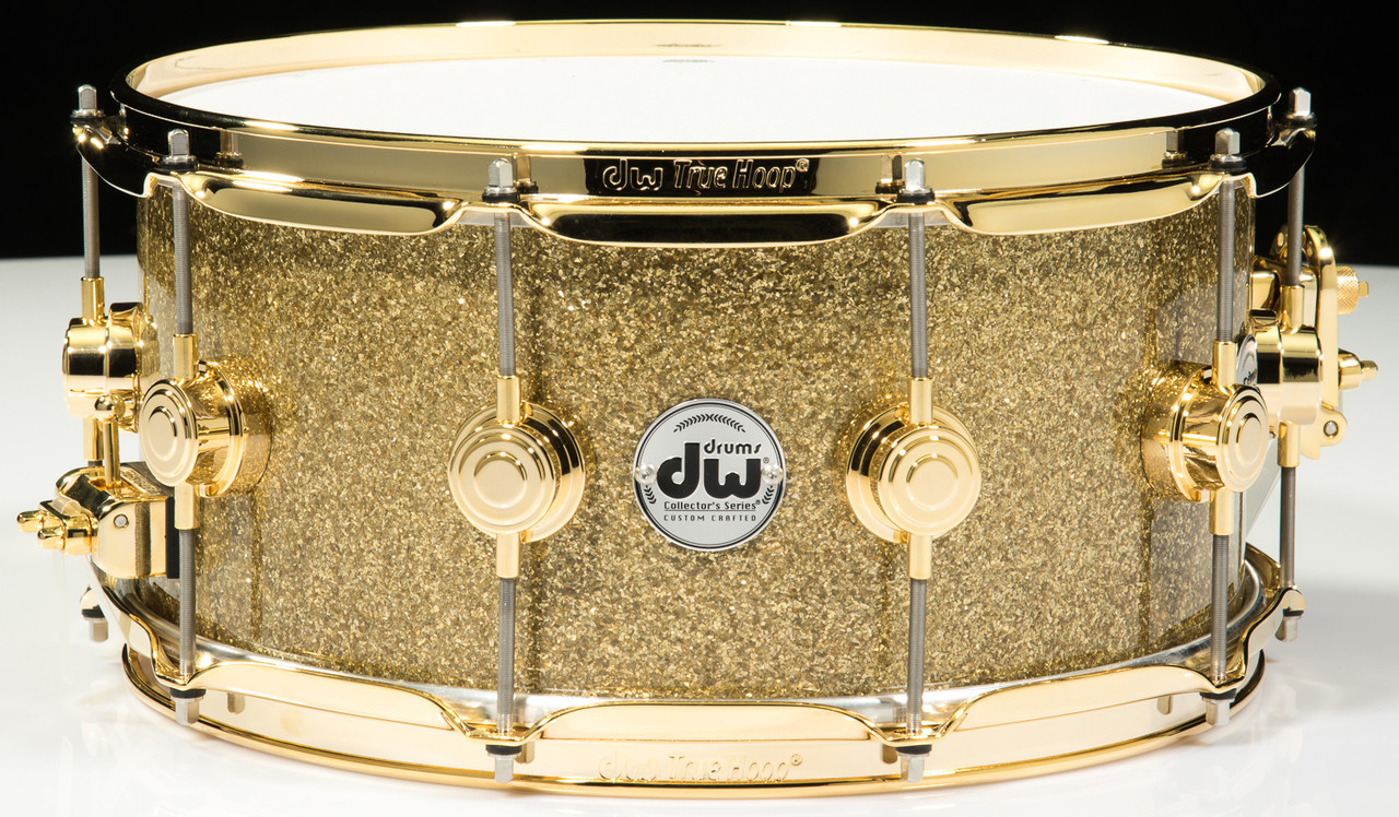 DW Collector\'s Series Snare 6.5x14 - Gold Glass - Gold Hardware