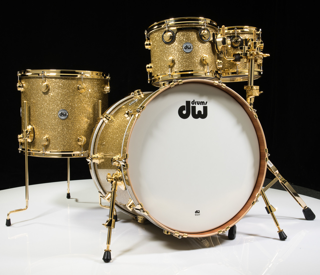 DW Collector's Series Maple Mahogany Drums 4pc Gold Glass