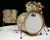 DW Collector's Series Maple Mahogany Drums 4pc Broken Glass with Gold