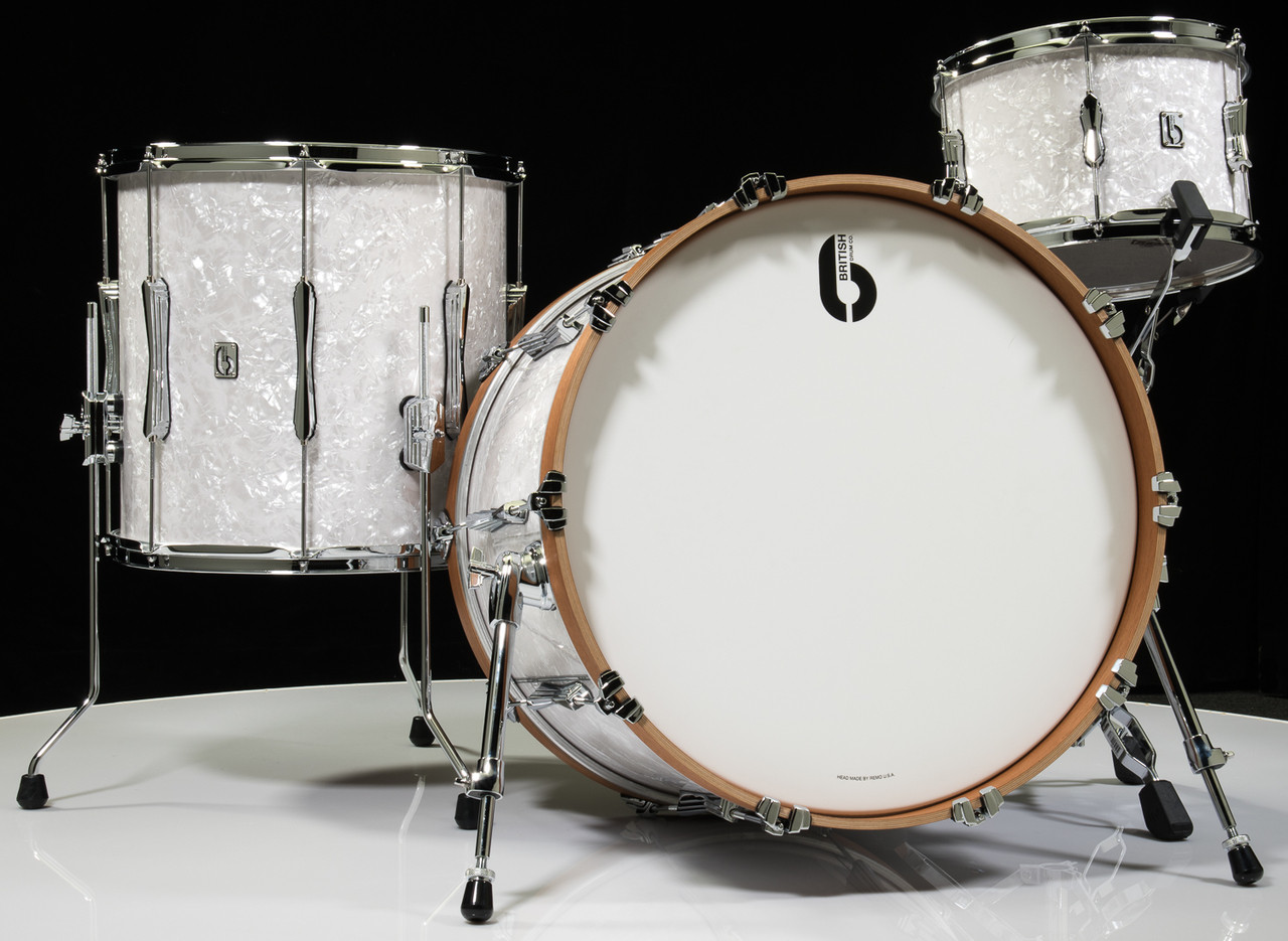British Drum Company Lounge Series 3pc Shell Pack 12/16/22 -Windermere Pearl - Front
