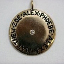 XL Charm hand engraved circle names