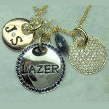 hand engraved stone charm necklace