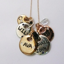 Tri color engraved charm necklace