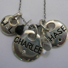 Engraved charms with stones on chain