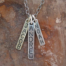 Engraved tag charm necklace