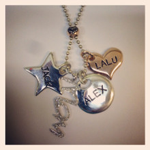 Mixed engraved charms and diamond hanging charm