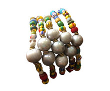 African Trade Bead and Pearl Bracelet