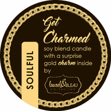 "Soulful ""Get Charmed"" soy candle with a surprise gold charm inside"