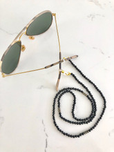 Black Onyx Beaded Eyeglass Chain