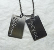 As seen here Lebron James children's handwriting turned into XL dog tags on oxidized Sterling Silver